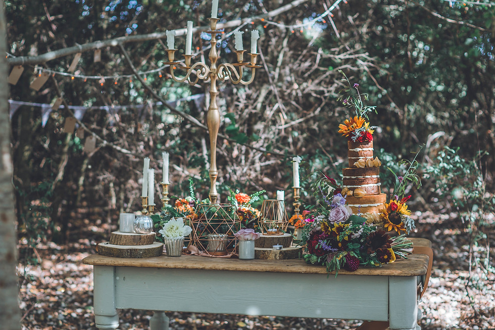 Styled with beautiful autumn coloured flowers provided by Young Blooms, Table and items from Wedding Event Prop Hire
