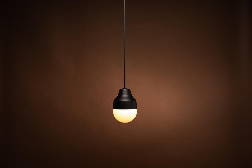 Black pendant light style light sculpture