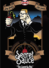 Secret Service cartoon many wearing black holding his finger to left ear with bottle of sauce squeezing in his right. Words secret sauce and The Secret is Out at the bottom and the Sandwich Spot logo at the top of the image.