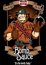 Military looking cartoon man holding a round black bomb in his left hand with a thumbs up on his right. The words Bomb Sauce and It's the bomb, baby at bottom with the Sandwich Spot logo at the top of the image.