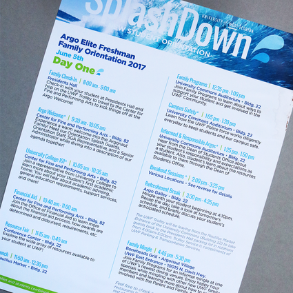 Splash Down Orientation Schedule