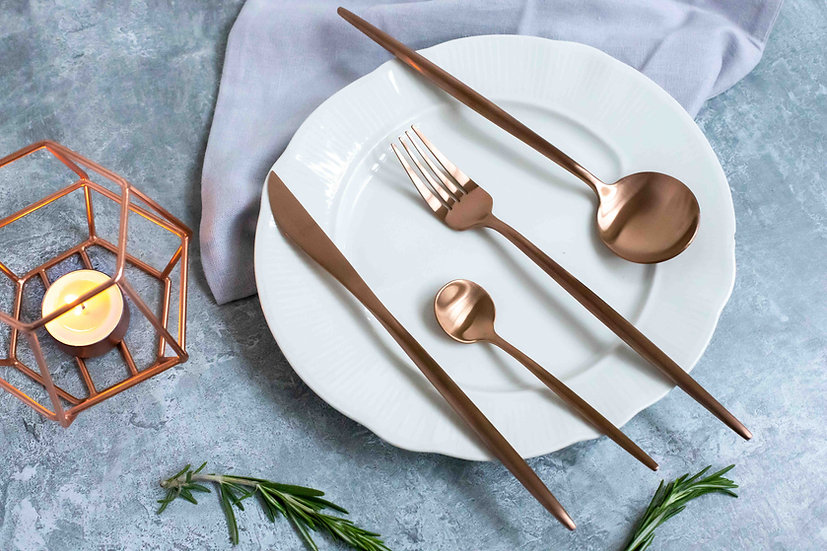 MINA Matte Rose Gold Cutlery Set | 18/10 Premium Quality Stainless Steel