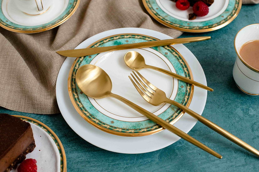 MINA Matte Gold Cutlery Set | 18/10 Premium Quality Stainless Steel