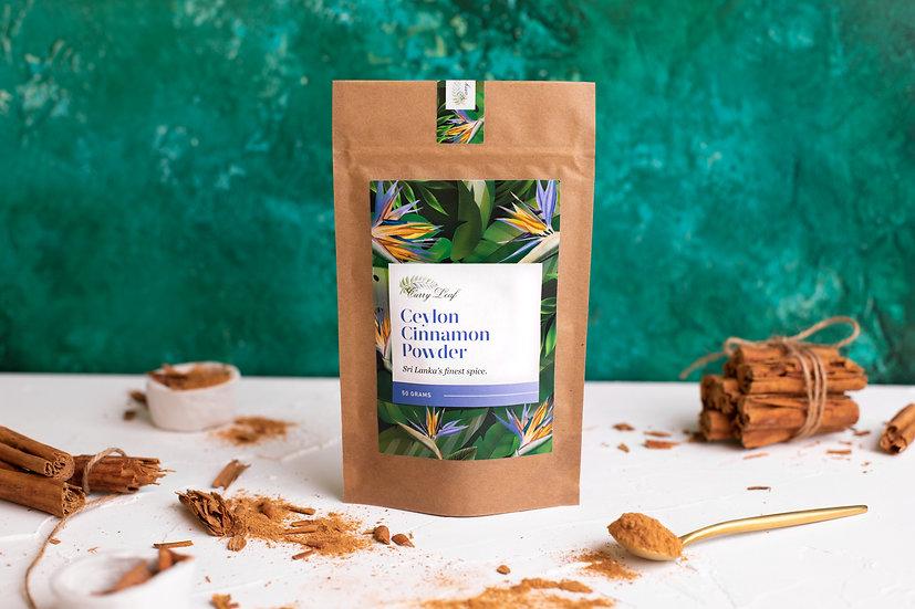 Sri Lankan Premium Ceylon Cinnamon Powder in Biodegradable Pouch, Recipe Card
