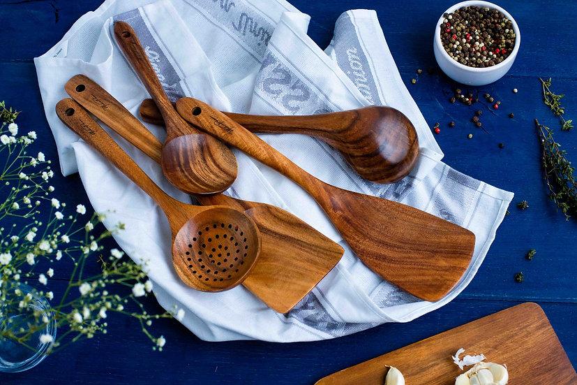 AMANI Natural Acacia Wood Spoon Set | Set of 5