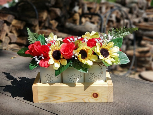 Mason Jar Box and Flowers
