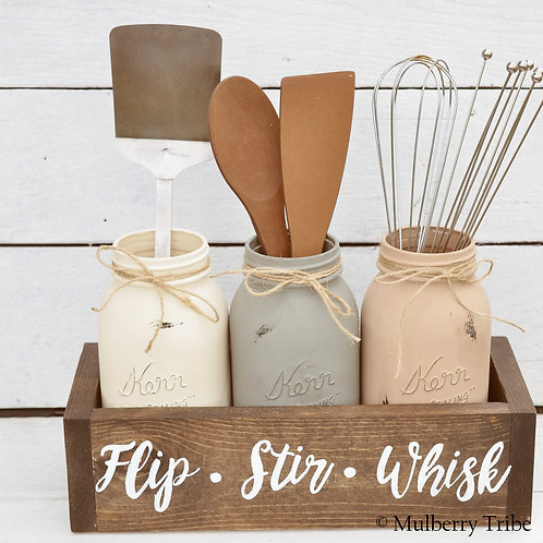 Flip Stir Whisk Box and Mason Jars
