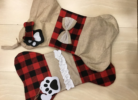 Holiday bone stocking - Beige with red plaid