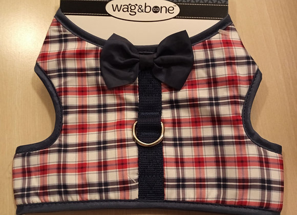 Wag & Bone - harness, red/blue plaid with bow