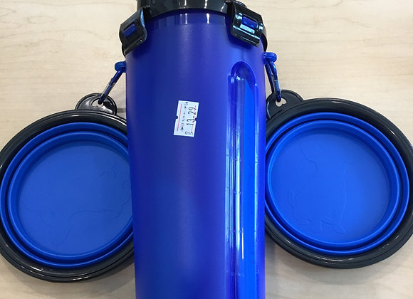 Dual Use Bottle - water/food holder with travel bowls