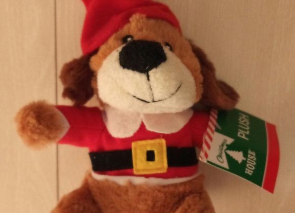 """Mini Dog Santa stuffed toy, 6"""""""