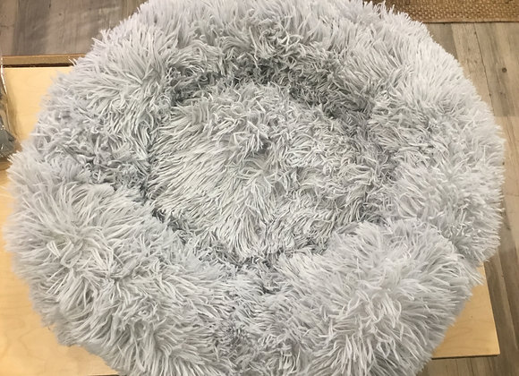 Bed - Faux Fur, small round, gray