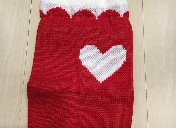 Heart sweater - white and red, small/med