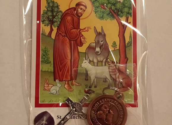 Saint Francis of Assisi Pet Pendant Packet (with cross and heart tag)