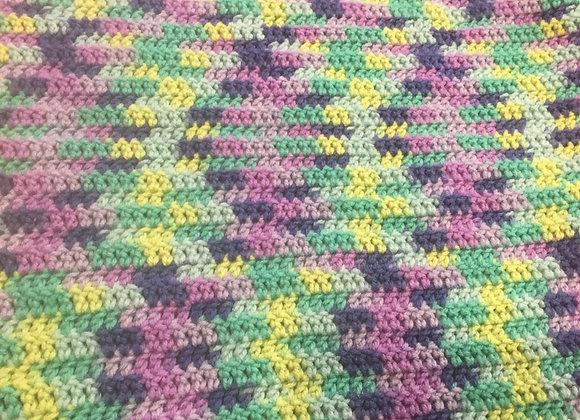 "PAWS Handmade blanket - 16""x32"", purple, green, blue, crochet"