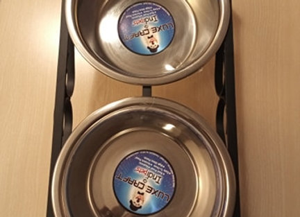 Double Elevated Stainless Steel Food Bowls