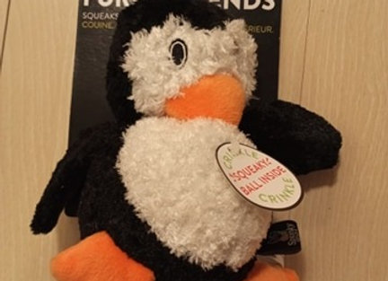 Spunky Pup Furry Friends - Penguin crinkle squeak ball