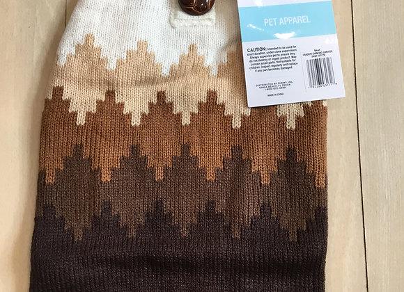 Sweater - white, cream, brown, small
