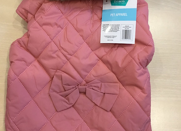 Frisco coat - pink with bow on back, medium