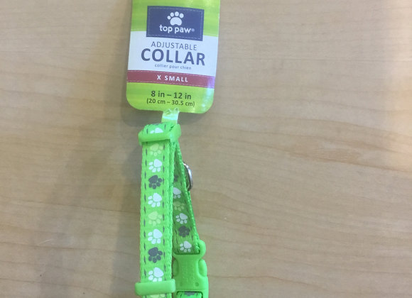 Top Paw - adjustable x-small collar, green with paws