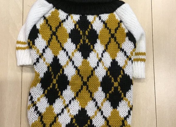 Argyle sweater - black, white, gold, extra small/small