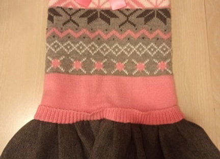 Dog Dress - Pink & Gray Sweater Dress with Pleated Skirt & Bow, medium