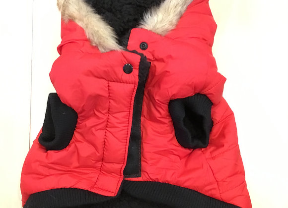 Red insulated jacket with fur lined hood, medium