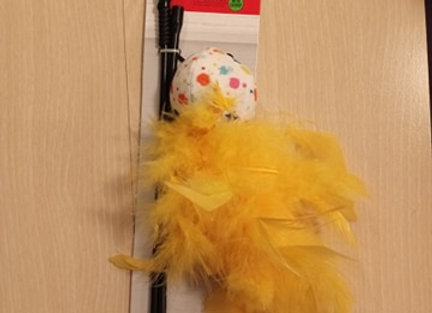 Whisker City Cat Stick Teaser Toy - ball with yellow feathers