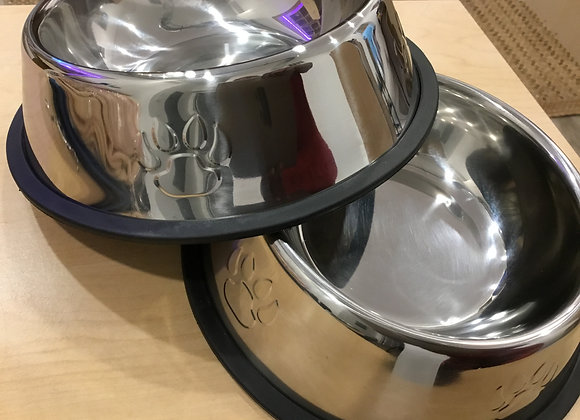 Bowls - stainless steel, rubber bottom, dog