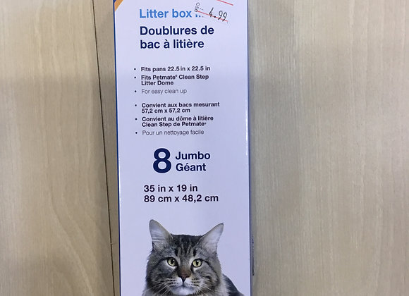Cat litter box liners - Petmate jumbo, 8-pack