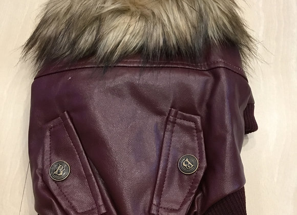 Leather jacket with fur -maroon, extra small-small