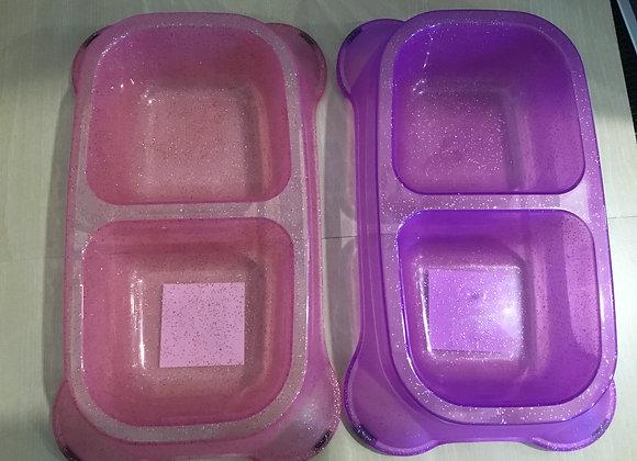 Bowl - double bowl, plastic