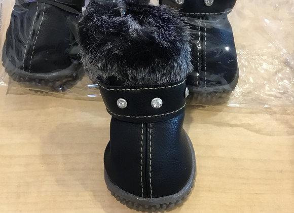 DOG - fur lined boots, rhinestone, size 5