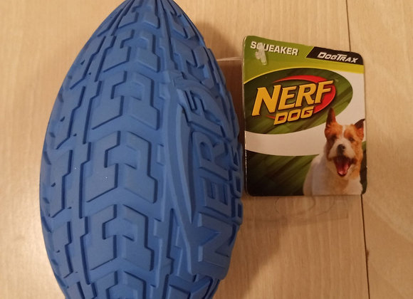 Nerf Dog Squeaker Football - blue