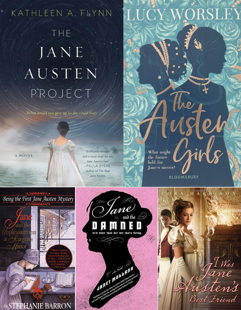 Book covers of The Jane Austen Project, The Austen Girls, Jane and the Unpleasantness at Scargrave Manor, Jane and the Damned, and I Was Jane Austen's Best Friend