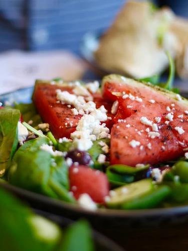 Melon and feta cheese lifestyle photograhy