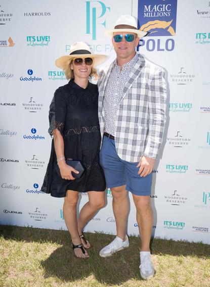 Zara Tindall Mike Tindall Magic Millions Polo styled by Gold Coast stylist Louise Chambers White Label Noba MJ Bale Acua Endino