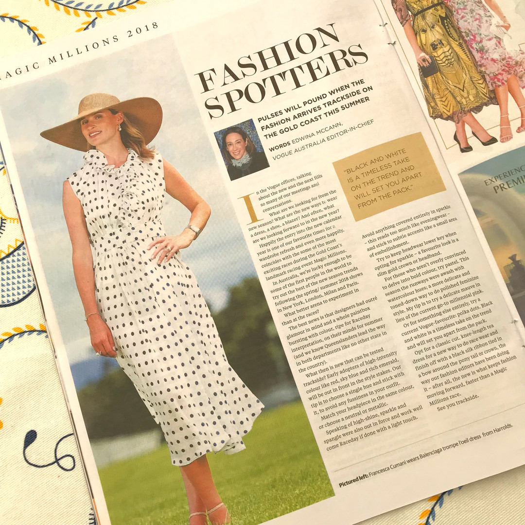 Francesca Cumani Magic Millions styled by Louise Chambers Harrolds Balenciaga