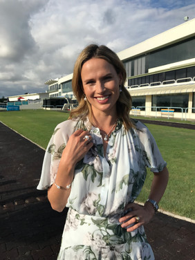 Francesca Cumani in Forever New for Sunrise Magic Millions styled by Louise Chambers