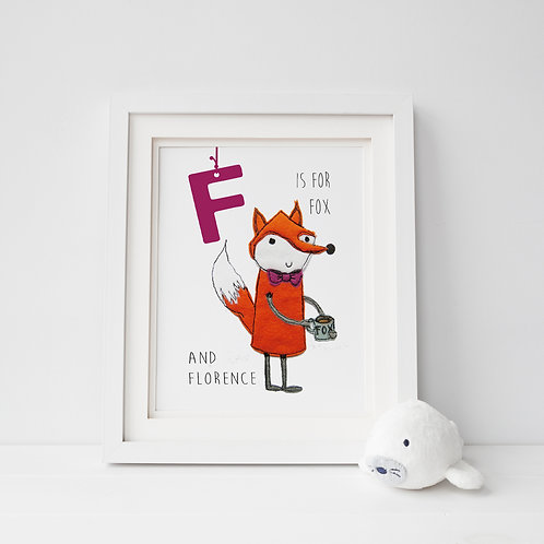 Animal Alphabet Print example in frame