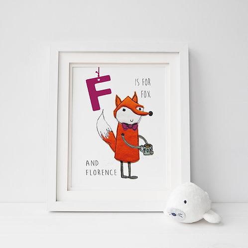 Animal Alphabet Print example in frame