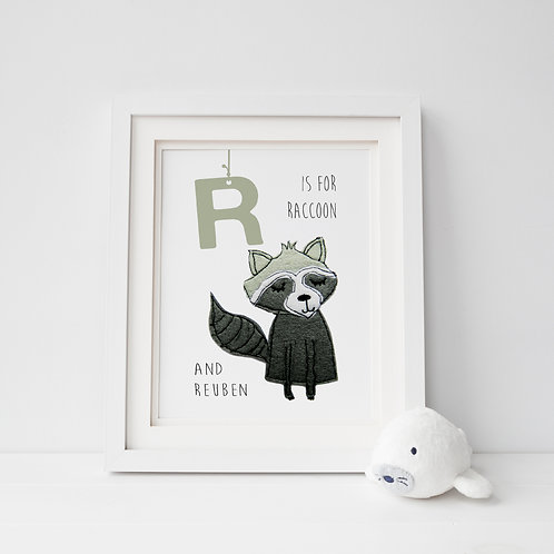 Animal Alphabet Print Raccoon framed example