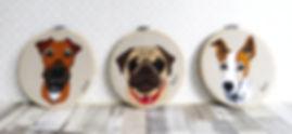 Textile Pet Portrait, Little Bluebird Dog portrait
