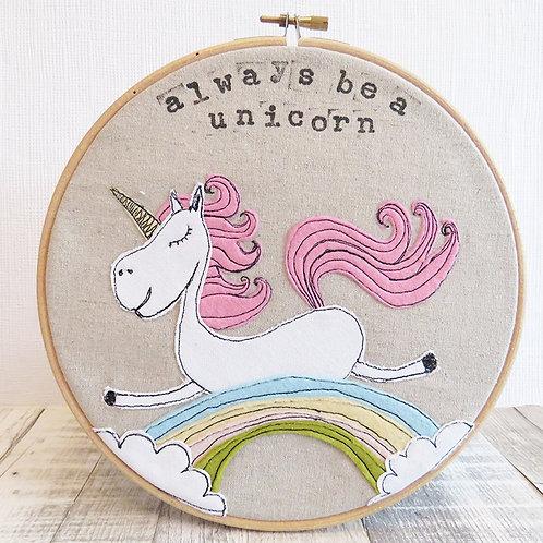 Unicorn picture, hoop art