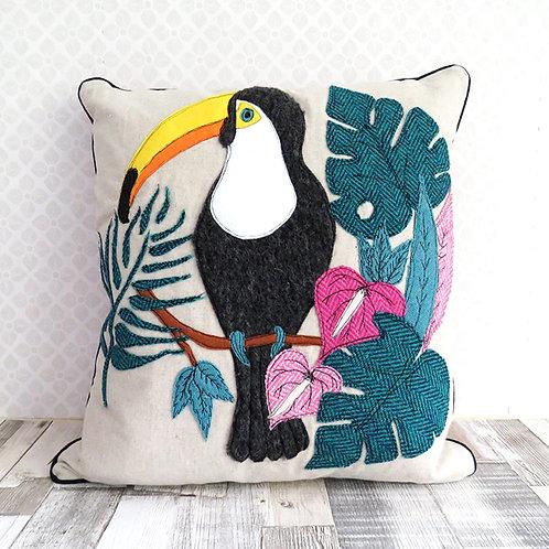 Tropical Toucan Harris Tweed Cushion