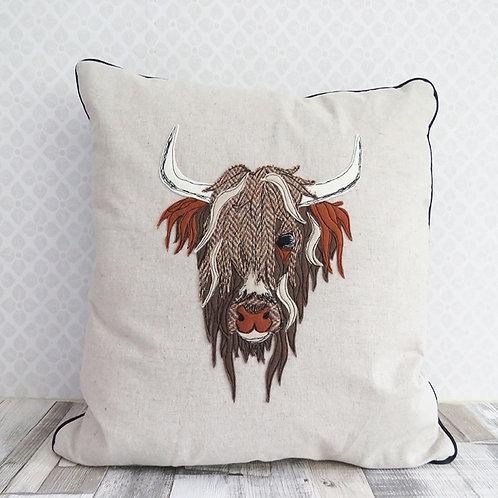 Highland Cow Harris Tweed Cushion