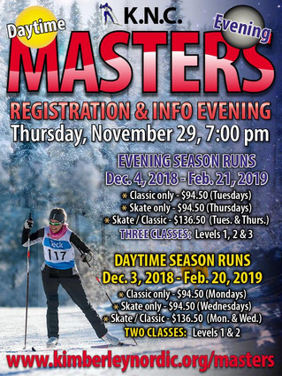 Masters Registration and Info Night, this Thursday, Nov.29th, 7:00pm.
