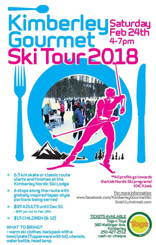 Kimberley Nordic Gourmet Ski, SOLD OUT again, this Saturday, Feb. 24th, 2018.