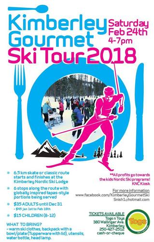 Kimberley Nordic Gourmet Ski, SOLD OUT again, this Saturday, Feb. 24th, 2018.