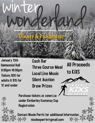 Winter Wonderland Dinner and Fundraiser, Jan. 13th, 6:00pm.